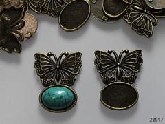 Bižuterní lůžko bronzové s motýlem, á 1ks