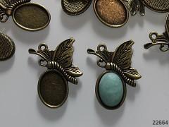 Přívěšek / bižuterní lůžko bronzové motýl, á 1ks