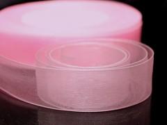 Růžová stuha organzová 20mm organza stužka šifónová růžová, svazek 3m