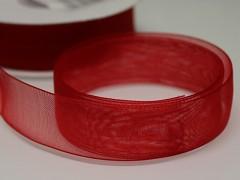 Červená stuha organzová 20mm organza stužka šifónová červená, svazek 3m