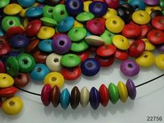 Pestrobarevný MIX korálky dřevěné disky 15/5 bal. 10g ± 25ks