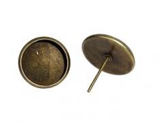 Bronzové náušnice puzety 10mm s lůžkem náušnicový bižuterní komponent, bal. 2ks