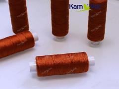 Tmavě oranžové nitě na koženku, rins a nylon 24/3 návin 130m