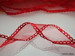 Červená stuha organzová /saténová 25mm organza stužka šifónová červená, á 1m