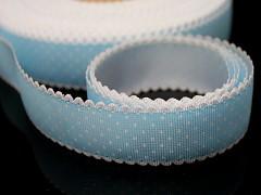 Modrá světle stuha s puntíky rypsová stuha, á 1m