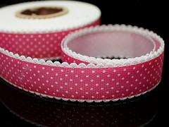 Růžová cyklámová stuha s puntíky rypsová stuha magenta, á 1m