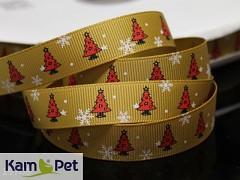 Vánoční stuha zlatá/ stromečky 16mm, bal. 2m