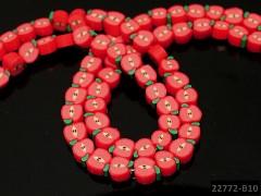 ČERVENÉ korálky FIMO korálky ovoce - jablka, bal. 4ks