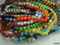 Pestrobarevný MIX korálky sklo kočičí oči 6mm 10ks