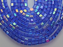 Modré korálky sklo kostičky 4/4 AB,  bal. 15ks
