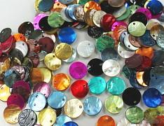 Pestrobarevná PERLEŤ plátky kolečka MIX přírodní minerál