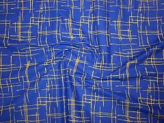 MODRÁ žíhaná žlutou látka 100% bavlna plátno ATEST DĚTI,  á 1m