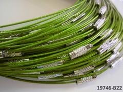 Zelená limetková obruč na náhrdelník lanko se šroubkem náhrdelník