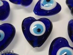 Korálky vinutky srdce modré OČI, bal. 2ks