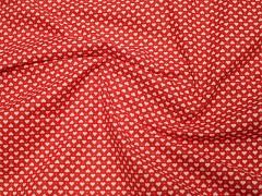 ČERVENÁ srdíčka bavlna plátno ATEST DĚTI,  á 1m