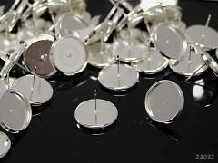 Stříbrné náušnice puzety lůžko 14mm náušnicový bižuterní komponent bal. 2ks