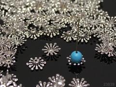 Platinové kaplíky kytičky na korálky 12mm, bal. 10ks
