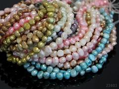 Přírodní říční perly 4/5mm SVĚTLÝ MIX, bal. 10ks