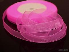 Růžová neon stuha organzová 10mm organza stužka nenová růžová