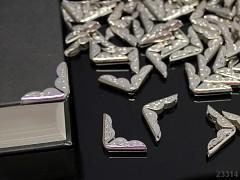 Kovové rohy 21mm platinové, bal. 10ks