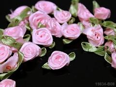 Aplikace růžička s líistem RŮŽOVÁ,  bal.10ks
