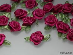 CYKLÁMOVÉ saténové růžičky S LISTEM k zdobení,  bal. 10ks