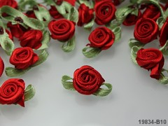 ČERNÉ saténové růžičky S LISTEM k zdobení,  bal. 10ks