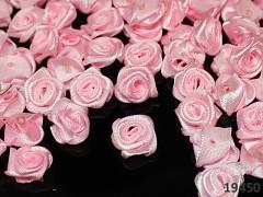 Aplikace saténová růžička růžová bal. 10ks