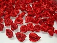 ČERVENÉ saténové růžičky k zdobení,  bal. 10ks
