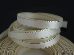 Stuha atlas 10mm zlatý lem SMETANA, bal. 3m