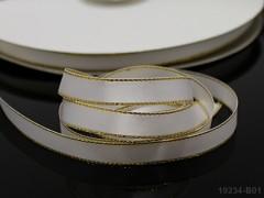 Stuha atlas 10mm zlatý lem BÍLÁ, bal. 3m