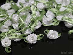 BÍLÉ saténové růžičky S LISTEM k zdobení,  bal. 10ks