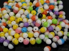 Pestrobarevný MIX korálky proužkované 10/8 bal. 10ks