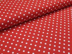 Červená látka s puntíky 05 puntíkované plátno ATEST DĚTI,  á 1m