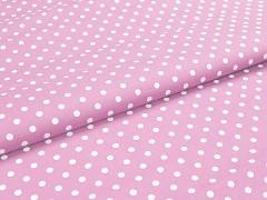 Růžová látka s puntíky puntíkované plátno ATEST DĚTI,  á 1m