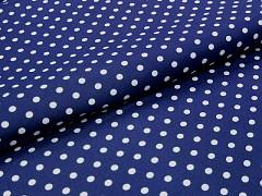 MODRÁ TMAVĚ látka s puntíky 06 puntíkované plátno ATEST DĚTI,  á 1m