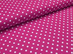 Růžová cyklámová látka s puntíky 06 puntíkované plátno ATEST DĚTI,  á 1m