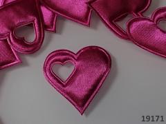 Aplikace saténová srdíčko v srdci CYKLÁM, bal. 5ks