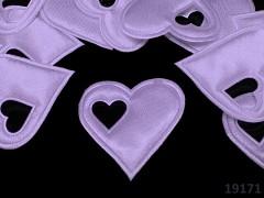 Aplikace saténová srdíčko v srdci SV.FIALOVÉ, bal. 5ks