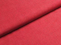 Červená látka s puntíky mini puntíkované plátno ATEST DĚTI,  á 1m