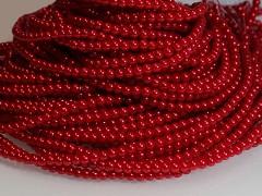 Voskované perly 6mm ČERVENÉ