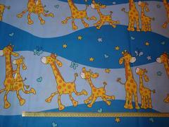 MODRÉ žirafy látka 100% bavlna atest děti