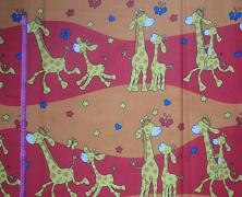 ČERVENÉ žirafy látka 100% bavlna atest děti