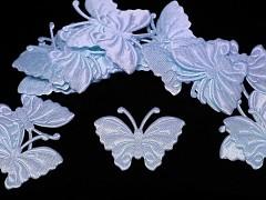 MODRÝ SVĚTLE motýlek ozdoba saténová, bal. 5ks