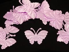 RŮŽOVÝ motýlek ozdoba saténová, bal. 5ks