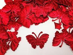 ČERVENÝ motýlek ozdoba saténová, bal. 5ks