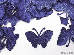 Aplikace saténová motýlek tm. modrý, bal. 5ks