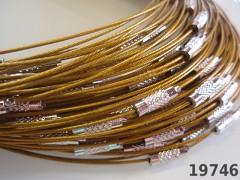Zlatá obruč na náhrdelník lanko se šroubkem náhrdelník