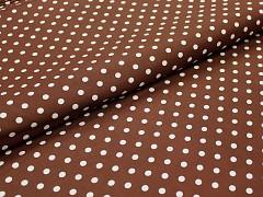 Hnědá látka s puntíky 06 puntíkované plátno ATEST DĚTI,  á 1m