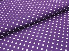 FIALOVÁ látka bavlna puntík 6mm puntíkované plátno ATEST DĚTI,  á 1m
